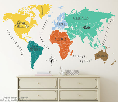 All around the world tagged world map decal zapoart world map with continents ocean names gumiabroncs Images