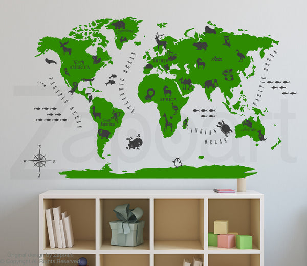 World Map with Animals