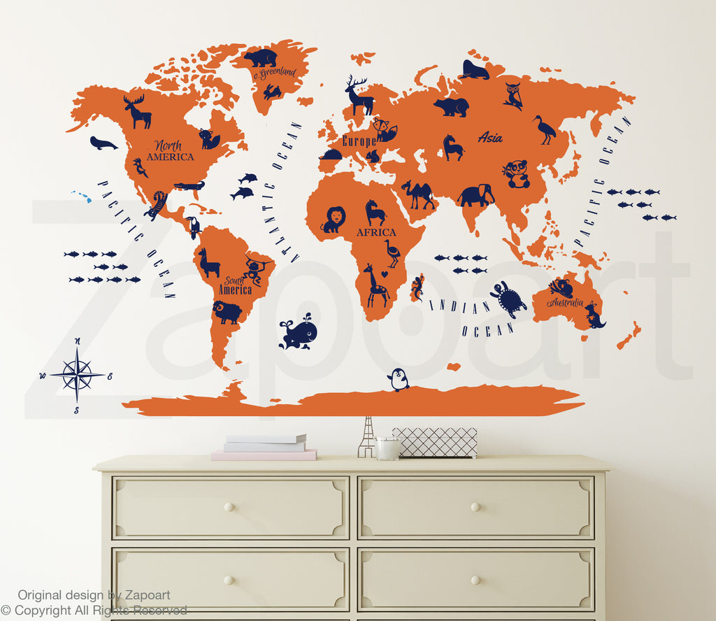 World map with animals zapoart world map with animals world map with animals gumiabroncs Gallery