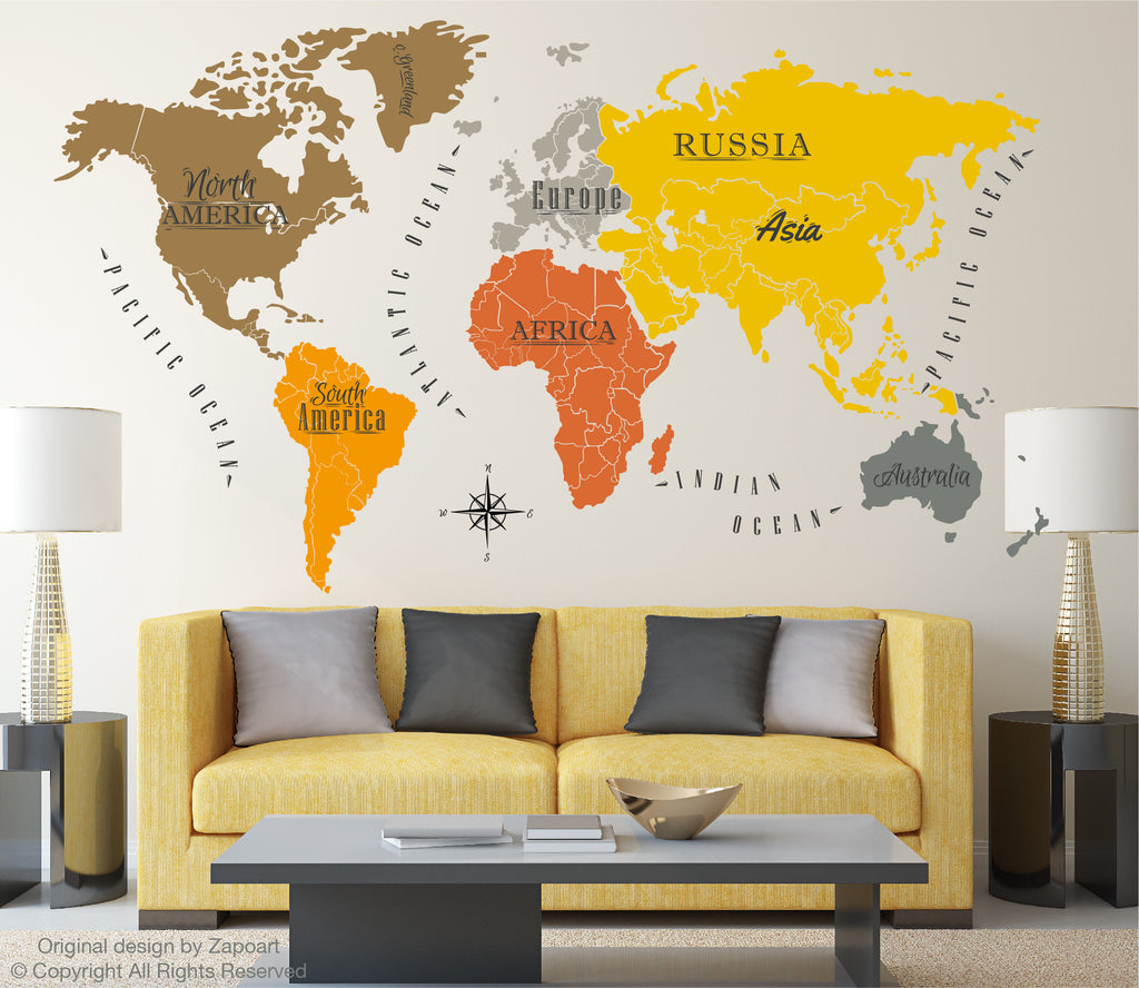 World map with continents ocean names zapoart world map with continents ocean names gumiabroncs Images