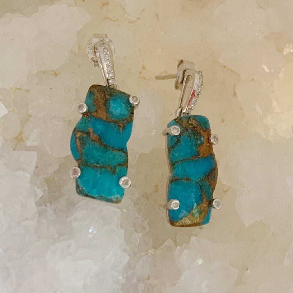 Zion Mountain Turquoise Silver Earrings with Diamonds