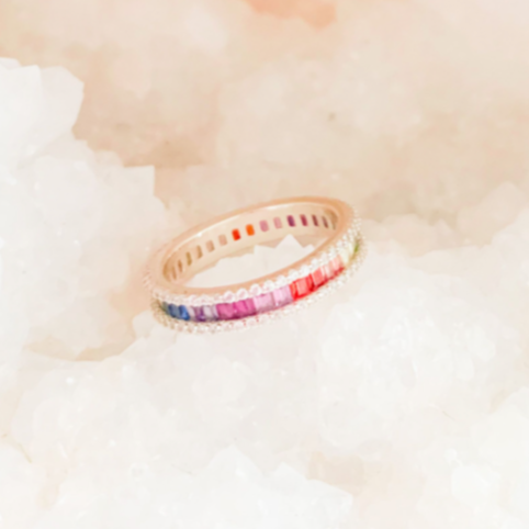 Rainbow White CZ Ring Gold