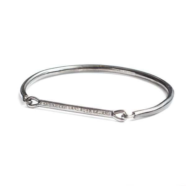 Diamond Bar Bracelet Oxidized Silver