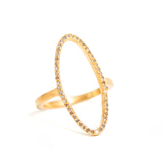 Yellow Gold Plated Beloved Oval Ring with .395 carat Brown Diamonds