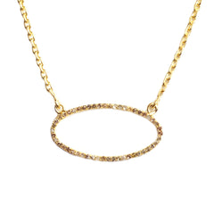 Yellow Gold Plated Beloved Oval Necklace with .420 carat Brown Diamonds
