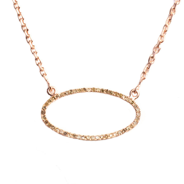 Beloved Large Oval Necklace Rose Gold