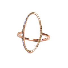 Rose Gold Plated Beloved Oval Ring with .395 carat Brown Diamonds