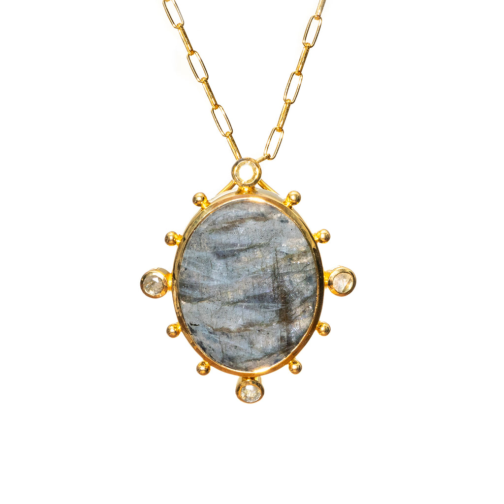 Natural Large Labradorite Pendent - Shoshanna Lee