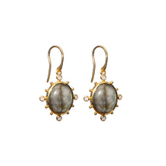 Natural Labradorite Earrings Gold