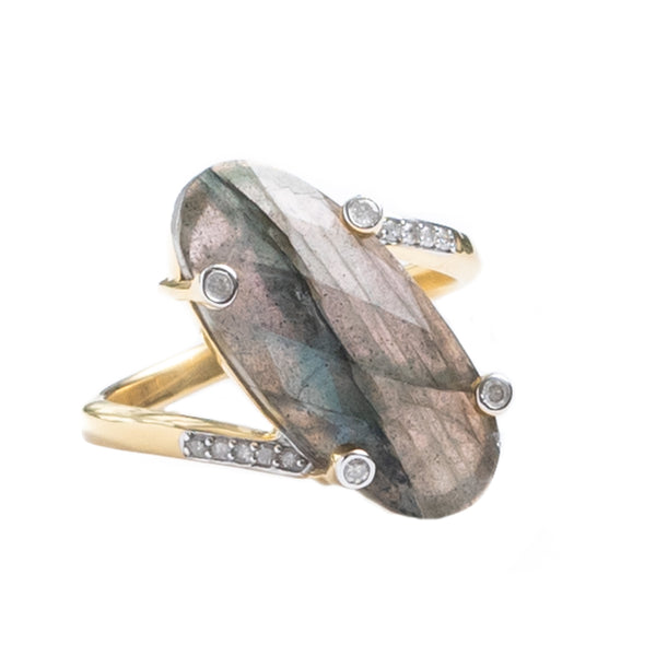 Palm Springs Labradorite Gold Ring
