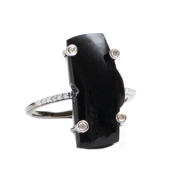 Zion Mountain Black Onyx Oxidized Ring with Diamonds
