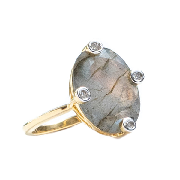 Manhattan Beach Labradorite Gold Plated Ring