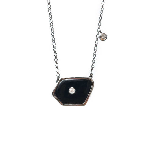 Bahamas Fancy Black Onyx Oxidized Necklace with Diamonds
