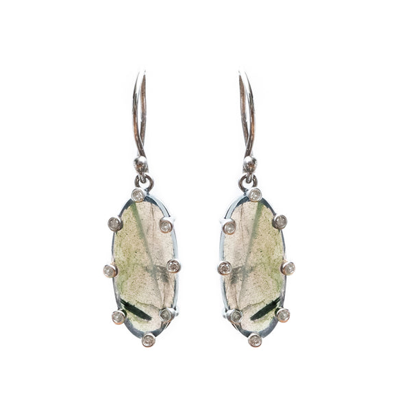 Santa Monica Labradorite Oxidized Earrings with Diamonds