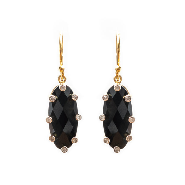 Santa Monica Black Onyx Gold Plated Earrings wth Diamonds
