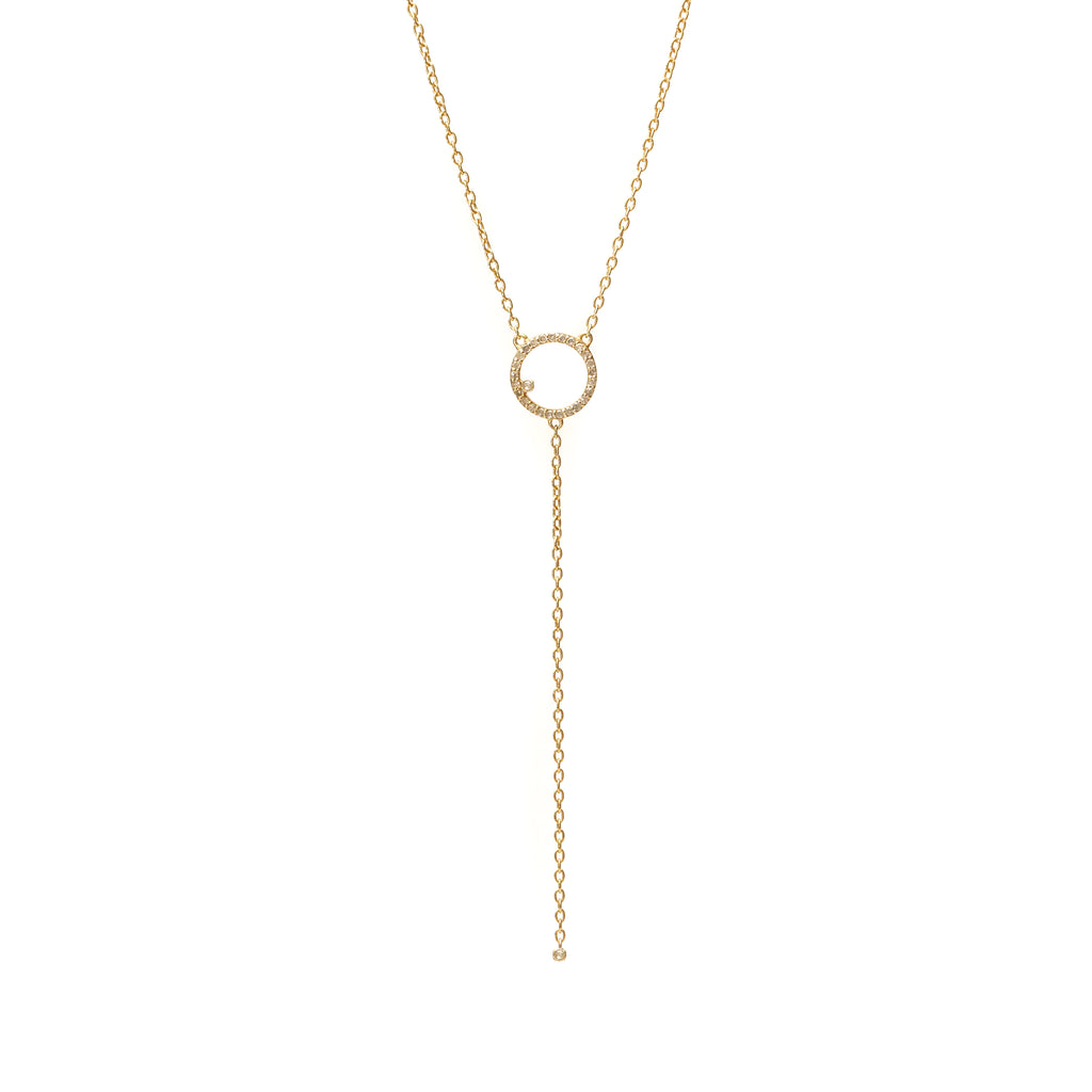 Renee Y Drop Circle Necklace - Shoshanna Lee