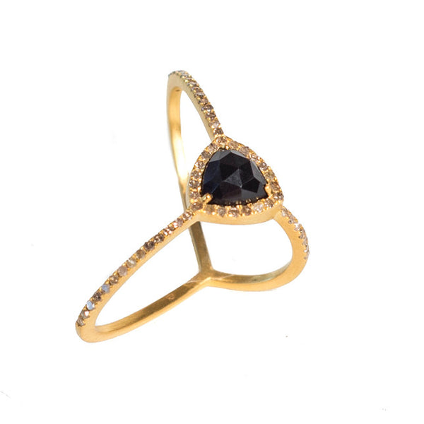 Adored Ring - Gold with Black Onyx Center