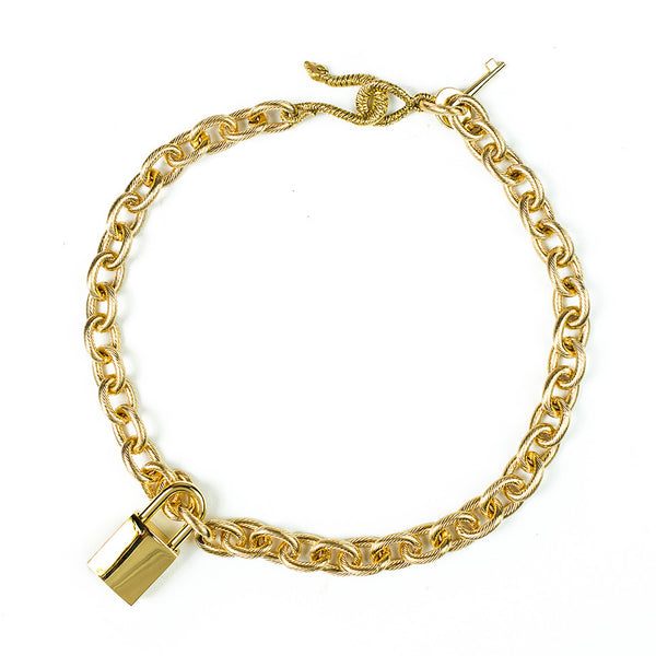 Lock & Key Charm Necklace Gold