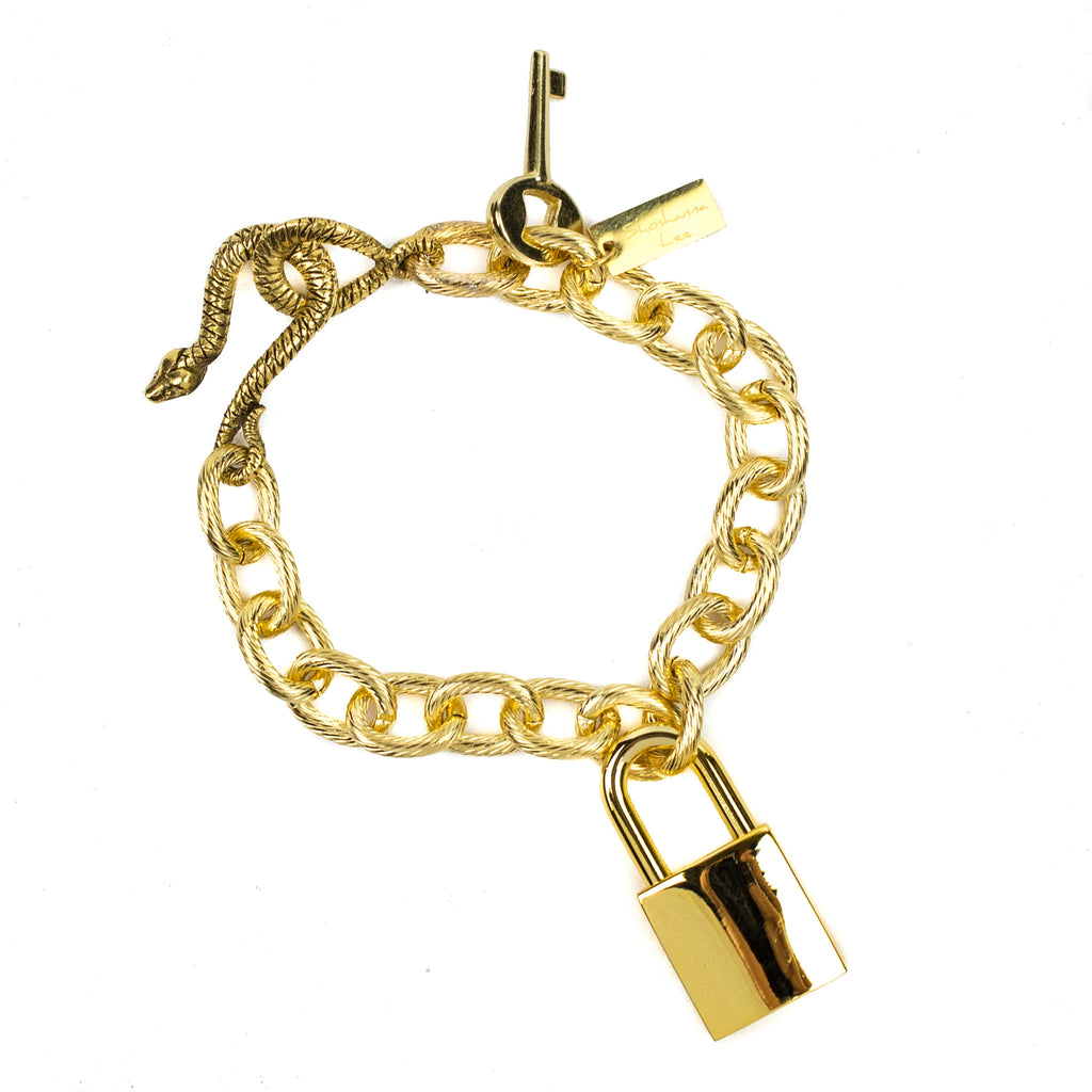 Lock & Key Charm Bracelet Gold - Shoshanna Lee