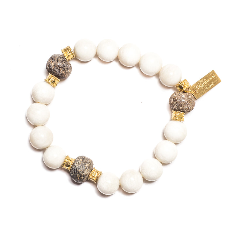 Stretch White Bone with Mammoth Beads - Shoshanna Lee