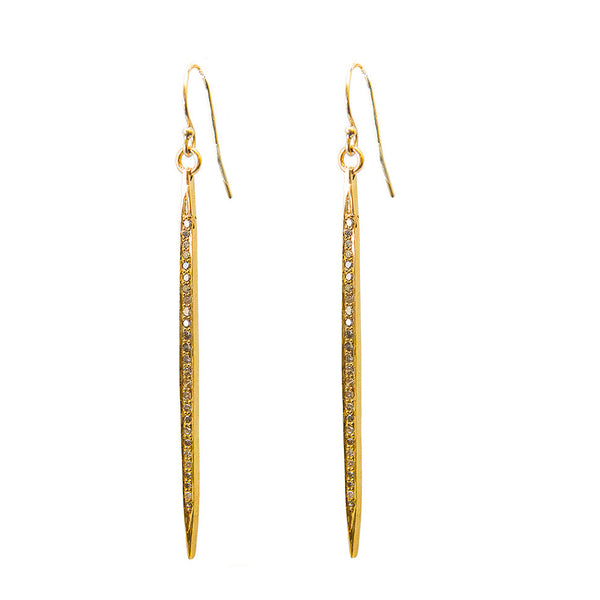 Diamond Dagger Earrings Gold