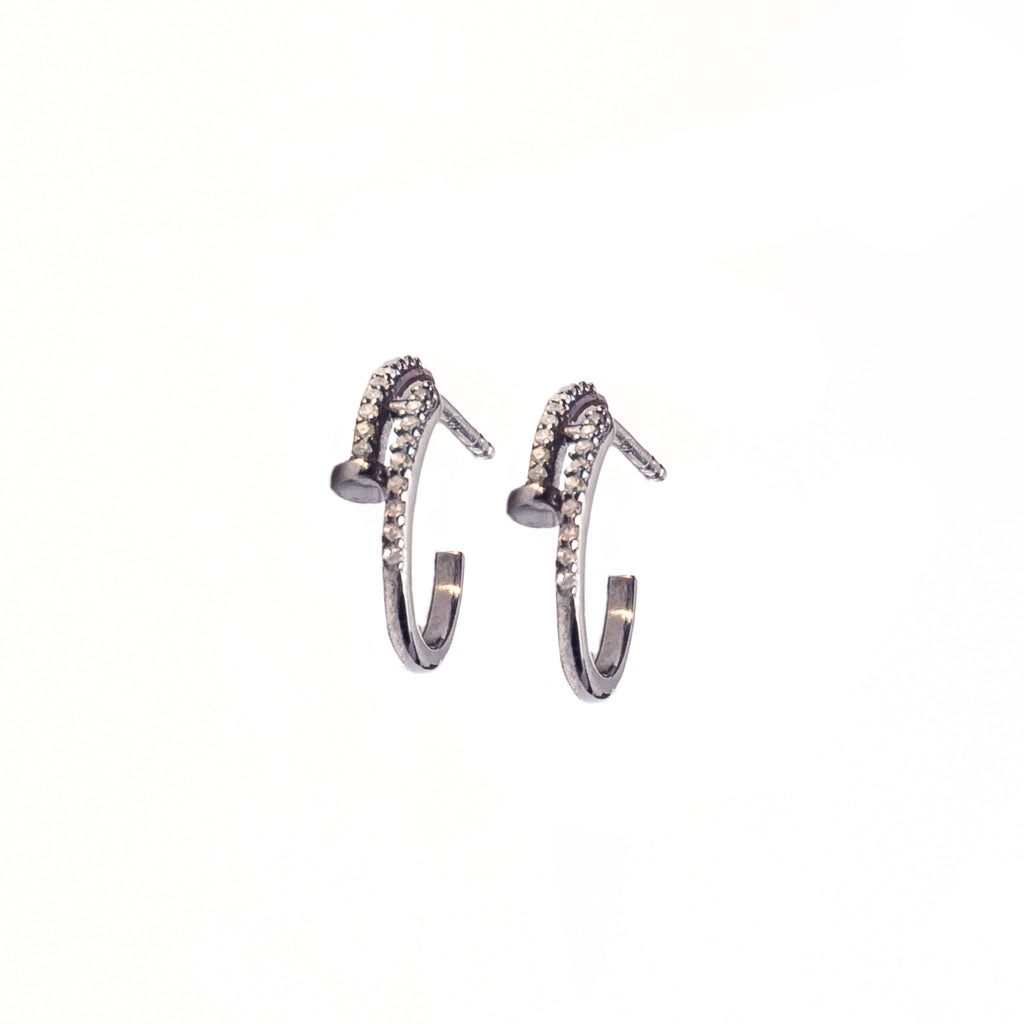 Diamond Nail Earrings Oxidized Silver - Shoshanna Lee