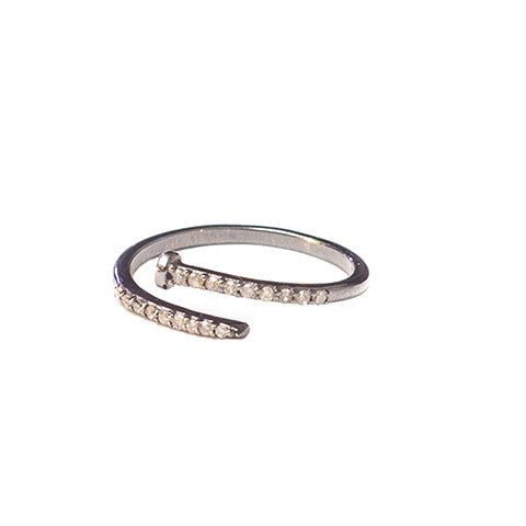 Diamond Nail Ring Oxidized Silver