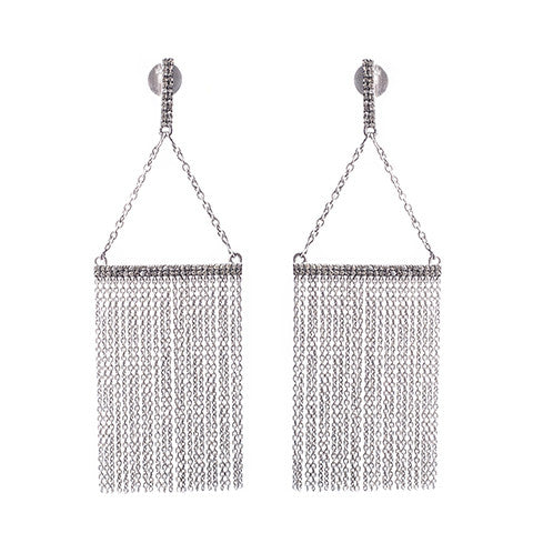 Diamond Chandelier Earrings Silver