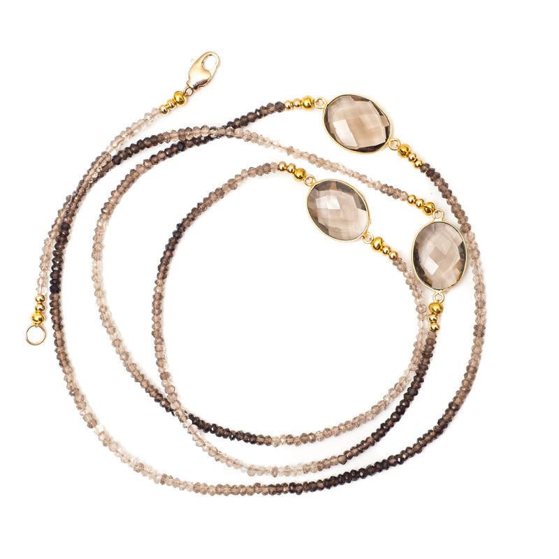 Lily Necklace Brown Quartz - Shoshanna Lee