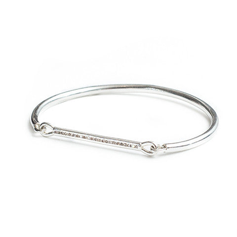 Diamond Bar Bracelet Silver