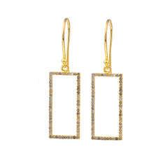 Yellow Gold Plated Idolized Rectangle Earring with .924 carat Brown Diamonds