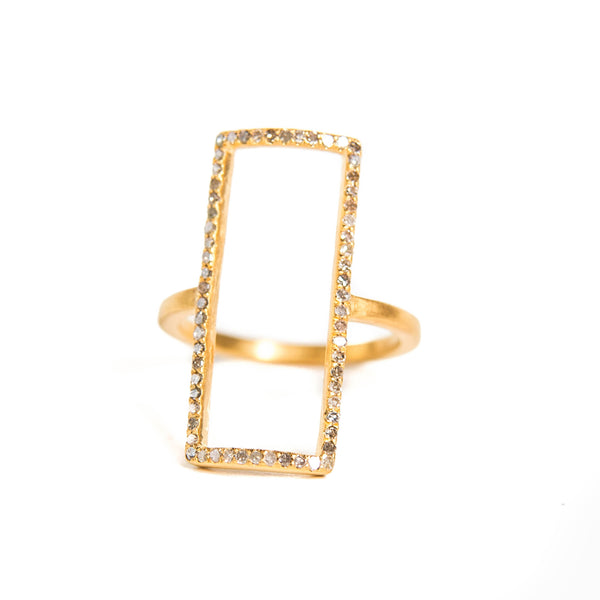 Idolized Rectangle Ring Yellow Gold
