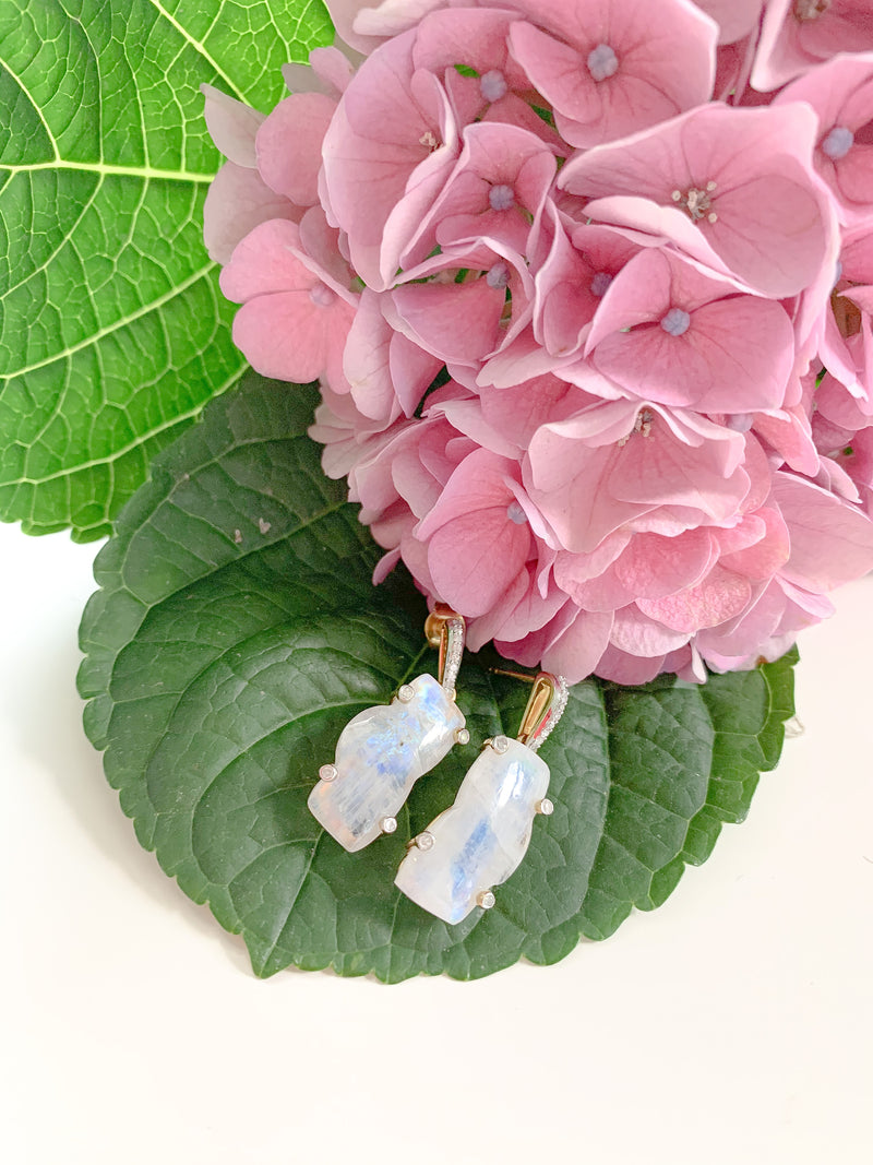 Zion Mountain Moonstone Gold Plated Earrings with Diamonds