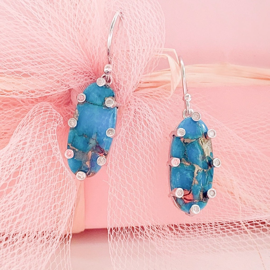 Santa Monica Turquoise Silver Earrings with Diamonds