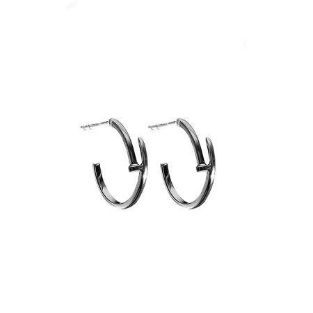Small Nail Hoop Earrings Oxidized - Shoshanna Lee