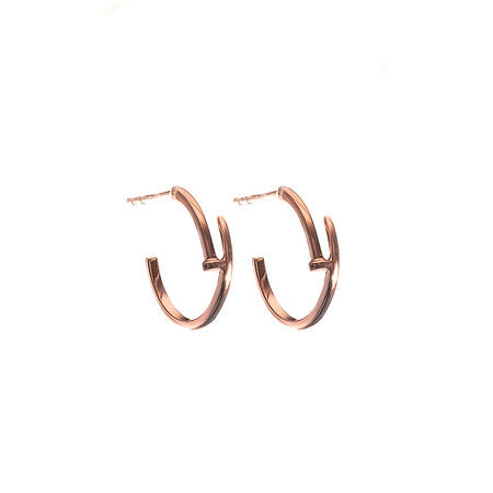 Small Nail Hoop Earrings Rose Gold - Shoshanna Lee