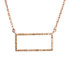Yellow Gold Plated Idolized Rectangle Necklace with .490 carat Brown Diamonds