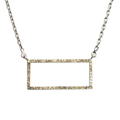 Sterling Silver Idolized Rectangle Necklace with .490 carat Brown Diamonds
