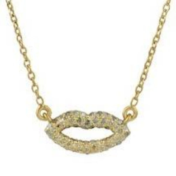 Lips Necklace with Diamonds Gold