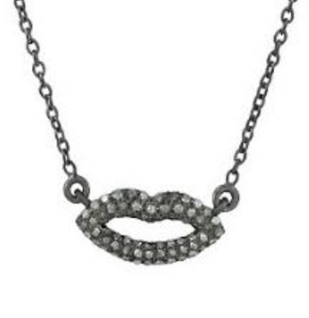 Lips Necklace with Diamonds Oxidized - Shoshanna Lee