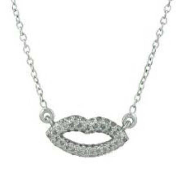Lips Necklace with Diamonds Sterling Silver