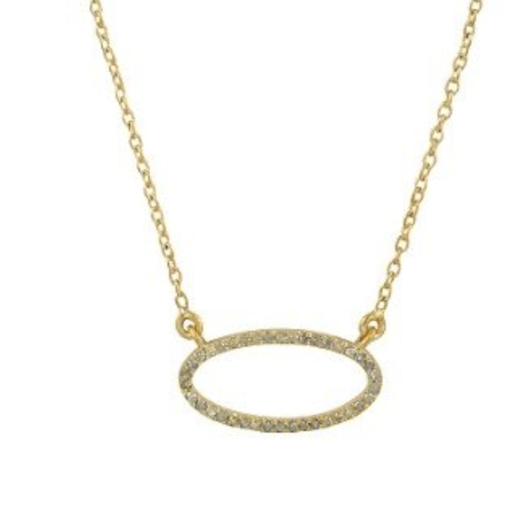 Beloved Small Oval Necklace with White Diamonds Gold - Shoshanna Lee