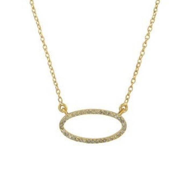Beloved Small Oval Necklace with White Diamonds Gold