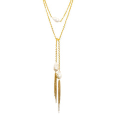Lariat Pearl Yellow Gold Necklace with Tassels
