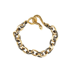 Oxidized & Gold Plated Cable Chain Bracelet with Gold Plated Snake Clasp