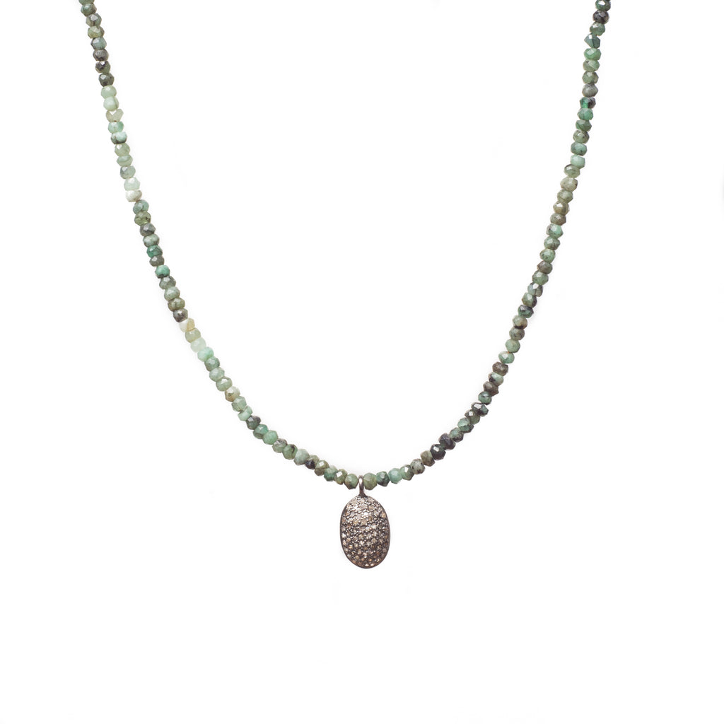 Dakota Emerald Choker with Diamond Pendent - Shoshanna Lee