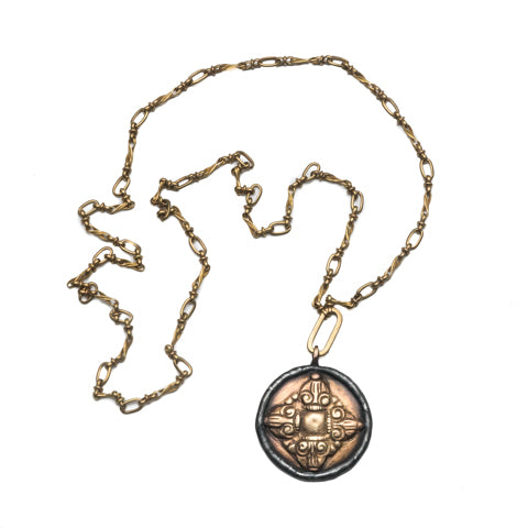Tibetan Dharma Wheel Brass Pendant Necklace - Shoshanna Lee