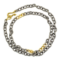 Oxidized and Gold Plated Cable Chain Valerie Necklace