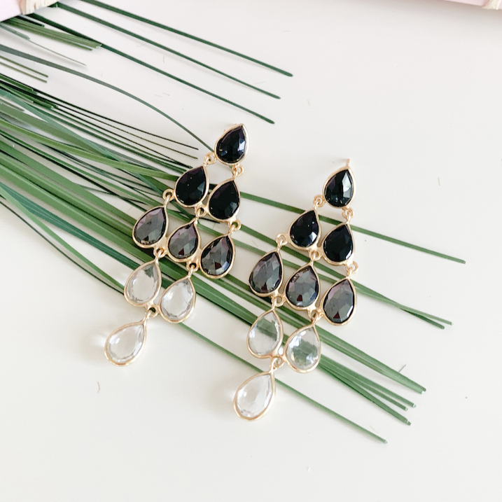 Chandelier Hematite, Smokey Quartz, & Crystal Earrings Gold
