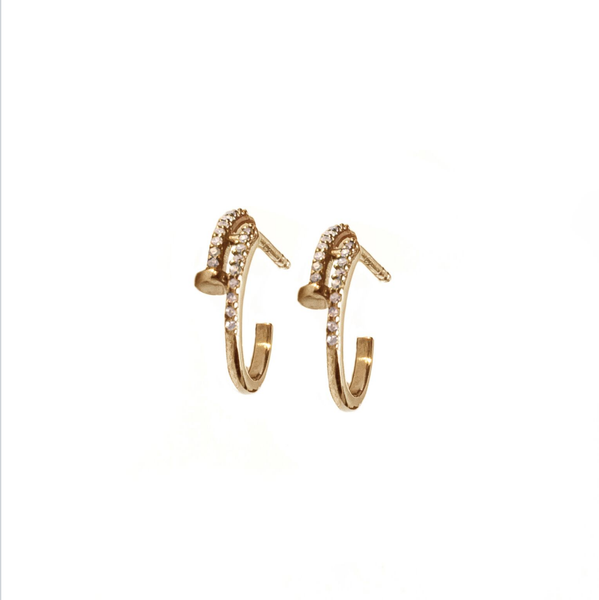 Diamond Nail Earrings Gold